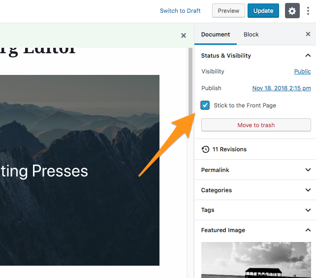How to stick a post in WordPress 5.0 or higher