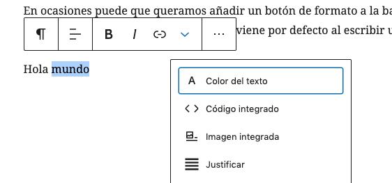 Barra de Herramientas (Toolbar) por defecto en Gutenberg